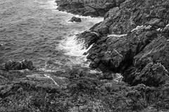 looking down, between Pulpit Rock and Black Head, Monhegan, Maine, nikon D40, Vivitar 28mm f-2.8, 9.13.14 (steve aimone) Tags: ocean blackandwhite texture monochrome rocks surf maine monochromatic textures blackhead lookingdown monhegan pulpitrock grays monheganisland vivitar28mmf28 nikond40