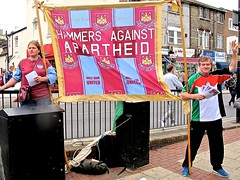 West Ham 3, Liverpool 1 (Herschell Hershey) Tags: street west green london liverpool israel football palestine banner protest ham east end fans apartheid hammers irons newham coyi
