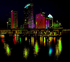 colored lights (gnhowlett47) Tags: urban texture film water architecture night buildings reflections river tampa evening cityscape tampabay pentax florida bridges grainy hillsboroughriver