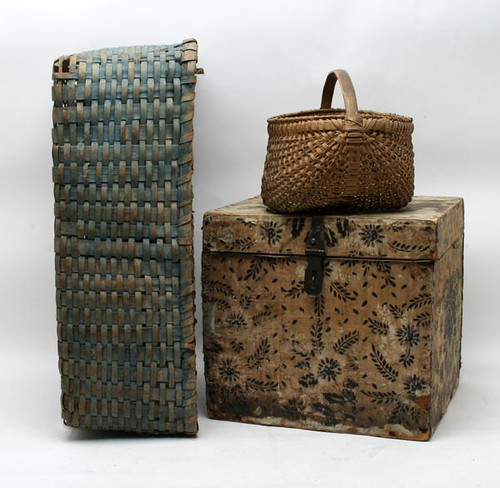 19th c. Wall Paper Box ($201.60), Blue Painted Gathering Basket ($201.60)