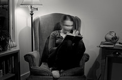 time travel (Robert Couse-Baker) Tags: 2017 2017070 365 reading woman book chair lamp blur shellyinspired shades monochrome sliderssunday hss