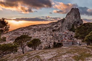 Caltabellotta under the snow at sunset.