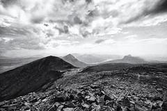 looking south from the summit of Cul Mor (Francis Mansell) Tags: coigach culbeag stacpollaidh culmor stackpolly benmorecoigach monochrome blackwhite mountain scotland scottishhighlands filmgrain creagnancalman cloud