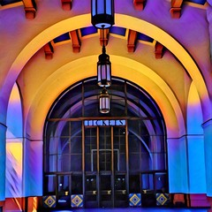 Los Angeles California  ~ Union Station ~ Exterior ~ Historic Ticket Entrance (Onasill ~ Bill Badzo) Tags: los angeles city county downtown union station original ticket lobby architecture architect parkinson nrhp registry historic train depot moderne art deco mission spanish revival onasill ipad apps creativity photography ps photogene apple exterior tower travellers tourist attraction archiitecture outdoor photo border artdeco booth