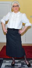 Ingrid023823 (ingrid_bach61) Tags: pleatedskirt faltenrock buttonthrough durchgeknöpft blouse bluse mature