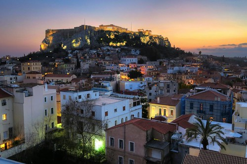 Athens  Acropolis from Plaka night view