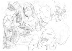 random sketch (Option!) Tags: sketch people faces laugh hairpiece pencil moai random