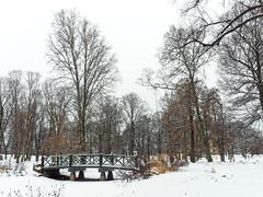 Slottsparken bridge (María Arencibia) Tags: oslo norway fjord scandinavia winter snow cold trees tree sky clouds landscape park bridge forest river water