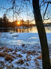 Eivindsvatnet, Haugesund - Norway (Vest der ute) Tags: xt2 norway rogaland haugesund djupadalen water waterscape lake ice winter sunrise sunstar snow grass trees sky fav25 fav200