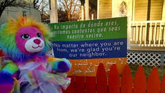 Feeling Welcomes (kimsworldofart) Tags: lion rainbow plush plushie stuffedanimal mountrainier maryland multicultural multiculturalism antiracism islam muslim arabic latino latina spanish immigrant immigration
