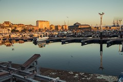 To the port. (The Ant Photos) Tags: birds boats port sunset travel spain galicia timelapse sea ocean city architecture