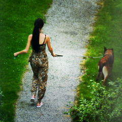 Walking the Dog (Arthur Koek) Tags: dog girl walking thenetherlands harderwijk veluwe gelderland