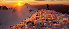 Sunrise viewing at the outer crater rim. (blue polaris) Tags: park new morning travel winter snow sunrise landscape island volcano scenery crossing north zealand alpine national nz summit tongariro ngauruhoe