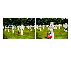 140605 - Monteith Grave (BillPutnam) Tags: france beach cemetery day d airplanes beaches soldiers prints fortifications normandy paratroopers memorials colleville triptychs bunkers diptychs medalofhonor