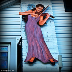 Sensuous violinist (Thad Zajdowicz (Thanks for 1.6 million+ views!)) Tags: leica blue urban music woman color sign wall digital painting store dress purple maryland violin bethesda violinist zajdowicz