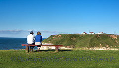 I am so Glad we Came (Photographs by David Hollingworth) Tags: bench bluesky northsea clifftop holidaymakers acouple limestonecliffs manfemale clifftopseat flamboroughheadland cliftopcottages tornwickbay