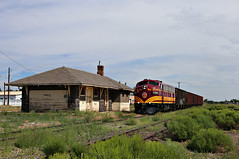 Always shoot the depot - Antonito, Colorado (chief_huddleston) Tags: railroad reflection train colorado railway depot rockymountains alamosa freighttrain antonito drg funit drgw blancapeak fp10 sanluisriogrande slrg1100