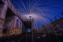 Steel Wool Spinning (7/29/14) - Pittsburgh, PA (JayCass84) Tags: camera longexposure nightphotography art night photography graffiti photo nikon flickr pittsburgh traintracks wallart explore slowshutter spraypaint nikkor aerosol flick pgh graffitiart 412 burgh steelwool d610 steelcity instagram instagramapp steelwoolphotography nikond610