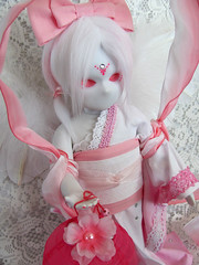 Haruko2 (Lunis's Dollhouse) Tags: pink white cute apple japan fur japanese spring wings doll dolls hand little spirit floating sash wig bow kawaii gradient kimono elegant custom dyed feathered