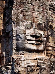 Angkor Thom (HerringCoveMike) Tags: face smiling statue temple asia cambodia religion carving thom angkor wat