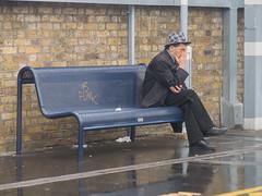 6 Funk (Magic Pea) Tags: street man london hat station photography photo candid platform streetphotography unposed eastlondon londonfields headinhands magicpea 6funk