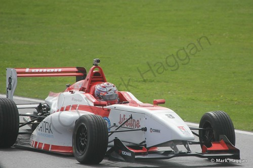 George Russell in his Lanan Racing car during the BRDC F4 at Silverstone, August 2014