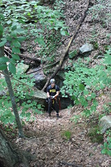 Caver Going On Rope at Diggings Pit (wrcochran) Tags: pits vertical exploring tag alabama rope caves limestone grotto caving cavern rappel rappelling speleo pothole spelunking srt nss