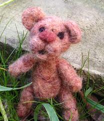 needle felted miniature blythe bear