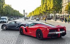 The LaBlanc Duo. (JayRao) Tags: paris france nikon august ferrari special saudi hybrid edition bugatti scuderia champselyses veyron ksa bespoke 2014 jayr d610 grandsport orblanc hypercars laferrari arabsupercar