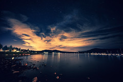 Cloudy Harbor (DesmondsPhotos) Tags: longexposure sky lake water night clouds stars landscape outdoors pond scenery wide a7r