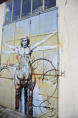 Vitruvian Man (remy_jourde) Tags: street sky man reflection art graffiti reflets centaur vitruvian centaure vitruve