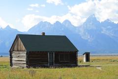 Cabin & Privy (Patricia Henschen) Tags: cabin wyoming grandtetons outhouse tetons grandtetonnationalpark privy mormonrow