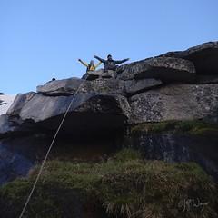 Dan and Sarah Belaying on Mount Hooker