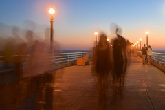 DSC_0012 (Walkingm4n) Tags: blue motion blur beach look dark photography lights waves flat like ghosts railing