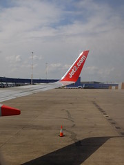 Landed (stevenbrandist) Tags: red holiday plane cone aircraft flight winglet ema trafficcones trafficcone jet2 familyholiday boeing737 eastmidlandsairport airside jet2com