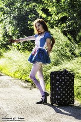 Chicagoland Cosplay Photography - End of Summer shoot (RickDrew) Tags: red stockings danger hair crazy blood doll peeling dress cosplay lace skirt luggage redhead vandal killer vandalism thumb hiker hitchhiker decomposition decline dilapidation trap corrosion blight decadence hitch co