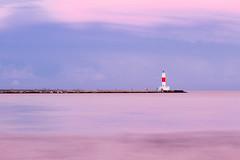 Light Tower @ Waukegan Harbor (@aru) Tags: longexposure light sunset red white lake tower beach water canon illinois exposure natural michigan naturallight lakemichigan 7d waukegan lakecounty ndfilter waukeganbeach canon7d