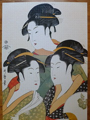 "2000 piece puzzle, ""Three Beauties of the Present Day"" by Kitagawa Utamaro.  Completed. (Billsville Mike) Tags: bon art print japanese three 2000 day puzzle present piece beauties period edo woodblock kitagawa epoch utamaro"