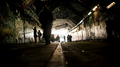 Graffiti on the train 31/156 (EXPLORE 5/3/2017) (markfly1) Tags: grafitti walls subway tunnel railway arches dark silhouettes people lines colours light spray cans 35mm d750