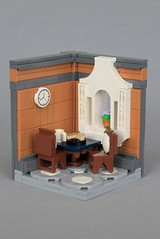 Dining Room (soccersnyderi) Tags: lego moc creation interior vignette snot wall mdf medium dark flesh furniture window frame table chair floor flower pot pie