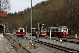 Harzer Schmalspurbahnen Triebwagentreffen mit 187 001 187 013 und 187 019 in Alexisbad, 31.03.2017
