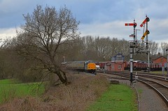37714 top n tail with D5830, looped at Swithland Sidings. GCR Spring Disel Gala. 19 03 2017 (pnb511) Tags: class37 diesel spring gala gcr track train railway greatcentralrailway trains locomotives loco br signal semaphore carriages sidings