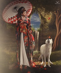 Miranda~Geisha Stroll in Spring (Skip Staheli *FULLY BOOKED*) Tags: skipstaheli secondlife sl avatar virtualworld dreamy digitalpainting mirandabrinner geisha japanese wolf butterflies spring