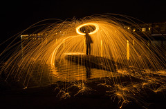 Wire Wool Spinning Explored 30/3/2017 (David Chennell - DavidC.Photography) Tags: firespinning wirewoolspinning steelwoolspinning wirral merseyside westkirby silhouette sparks