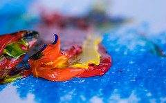 Mix (PhilR1000) Tags: paint oils acrylic macro red yellow blue orange macromondays orangeandblue