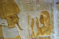 Art on a tomb wall (konde) Tags: 18thdynasty newkingdom mayaandmeryt saqqara tomb mayaandmerit ancient hieroglyphs tombrelief antefcrown osiris deities ancientegypt