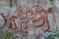 Aboriginal Rock Paintings (Jay Packer) Tags: oceania rockart art paintings northernterritory australia indigenouspeoples drawings tribalart location pictographs people aboriginals ancestral ancient ethnic homosapiens humans pictogram pictogramme pictograph tribe