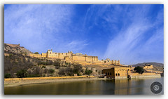 Famous Amer (Amber) Fort of Rajasthan, India (KSPhotography!) Tags: amer amber fort architecture architect jaipur rajasthan india ancient history historic attraction reflection famous fortifications fortress historical lake landmark old outdoor palace castle panorama panoramic pond scenery sightseeing tourist tourism water pattern royal redsandstone marble rajputarchitecture exterior pyramidal monument heritage architecturalheritage hindurajput vintage building luxury hillfort asia bluesky outside