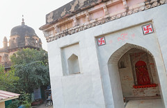 Swastika Temple (peterkelly) Tags: digital canon 6d india asia gadventures essentialindia orchha orchharesort temple swastika orange chhatris arch archway
