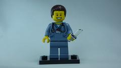 Brick Yourself Bespoke Custom Lego Figure Happy Doctor with Sharp Knife